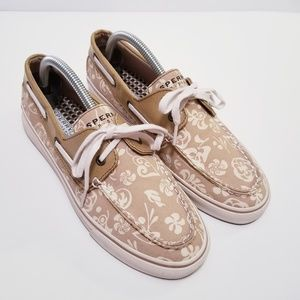 Sperry Sz 9 Tan/White Floral Boat Shoes